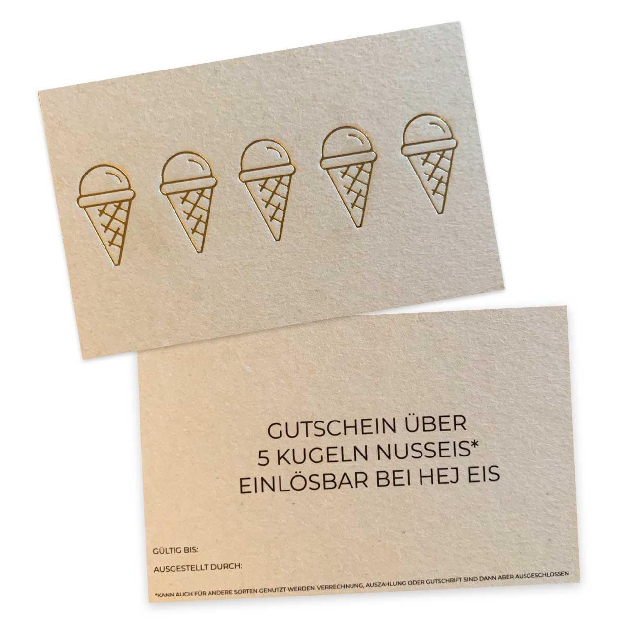 Hej Eis - Gutschein für 5 Kugeln Nuss-Eis